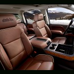 The new Silverado gets classier double stitched saddle brown leather seats