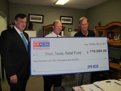 DFW NCDA presents check to West, Texas, Mayor Tommy Muska