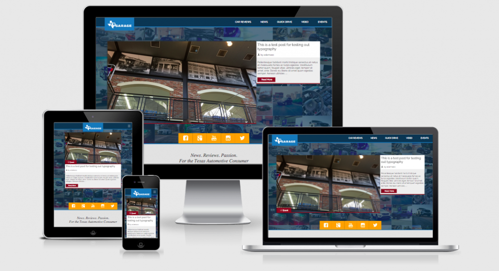 txGarage website - version 6 - launched Sept. 21st 2015