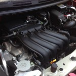 Under the hood of the Nissan Versa Note.